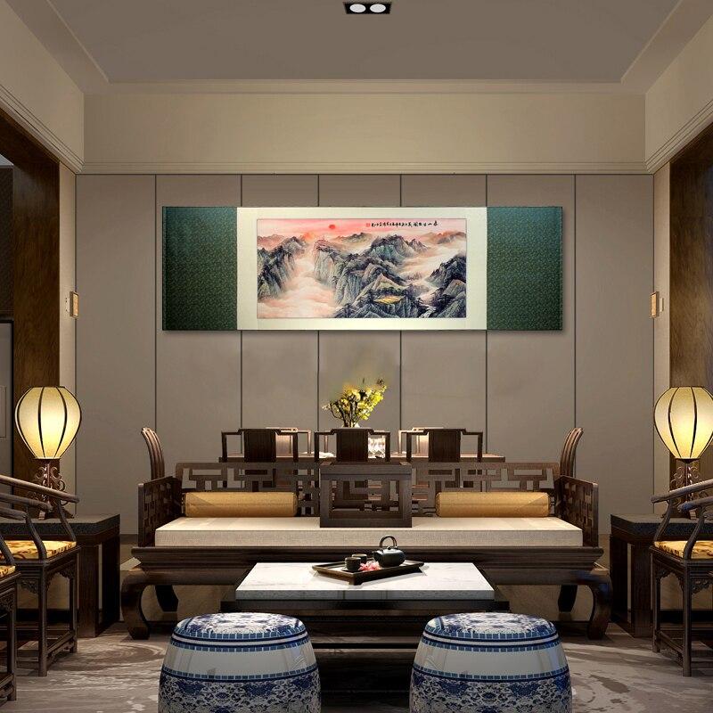 Tangfoo seda pintura montaje Tai Sunrise foto Shandong regalo especial encanto extranjero pintura de desplazamiento fabuloso decoración colgante de pared