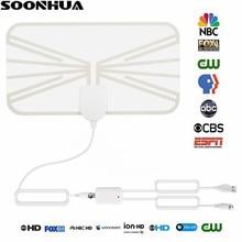 SOONHUA 80 Miles Indoor Digital TV Antenna 1080P Transparent TV Antena HDTV Signal Receiver Amplifier Antenna Mini DVB-T2 Aerial