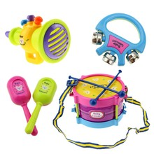 Drum Set Children Toys 5pcs Roll Toy Baby Girls Drum Set Colorfull Kids Musical Instruments For Children Band Kit