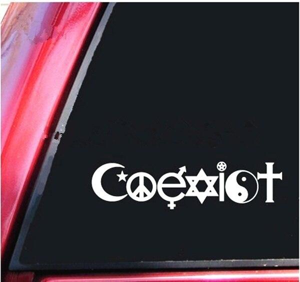 Coexist Peace Religion Love Sticker Notebook window Laptop Vinyl Decal Sticker 20cm