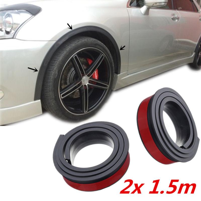2pcs 1.5 m Universal Rubber Car Wheel Arch Protection Moldings Anti-collision Mudguard Car Wheel Protection Wheel Sticker