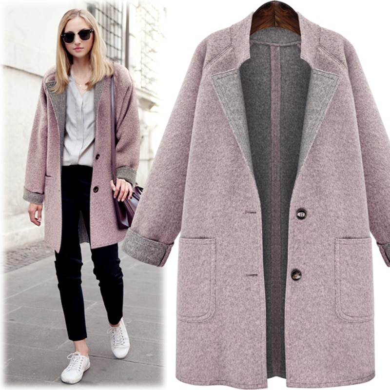 Nuevo abrigo de lana de invierno 2018 para mujer, abrigo informal con cuello doblado, único botón Delgado, secciones largas, abrigo de lana, abrigo femenino