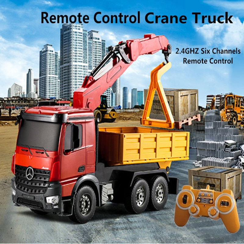 Lagre Simulation Lifting Transport Wireless Control RC truck 5656CH 180 Degree Rotation Lift Crane With Forklift Board child gif