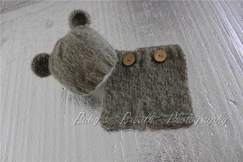 Mohair-nascidos Urso Capô e Shorts Set Chapéu Do Urso Do Bebê Urso Outfit Newborn Fotografia prop
