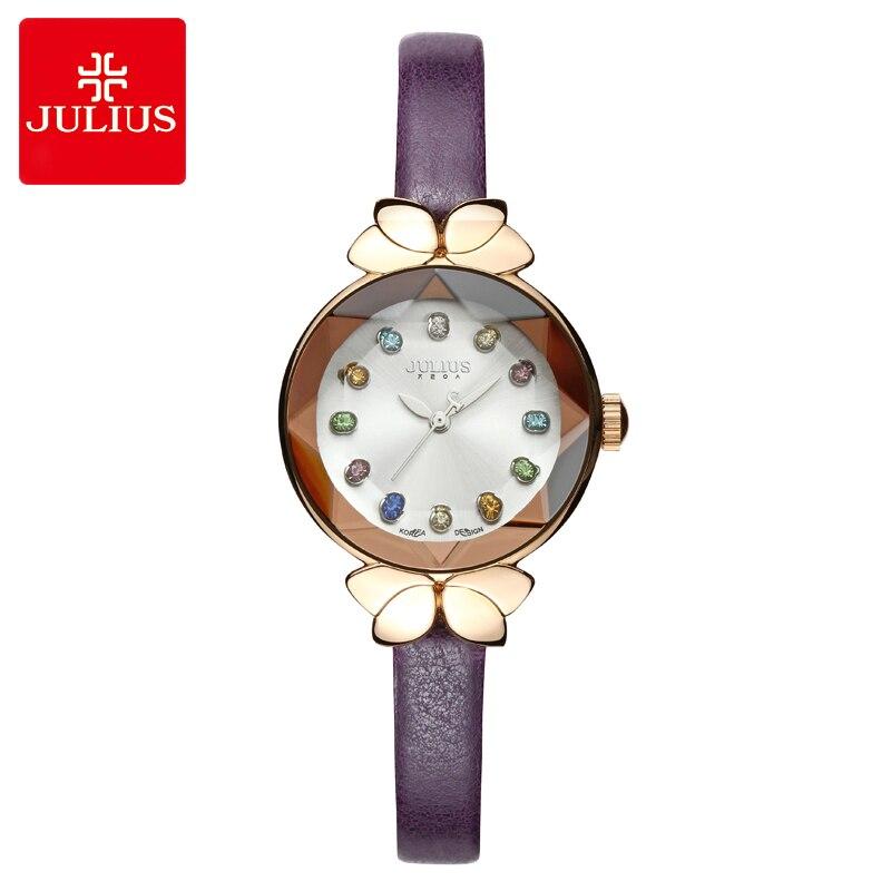 Colorido cristal superior Julius Lady mujer reloj MIYOTA nudo lindo moda horas Real cuero pulsera niños niña caja de regalo