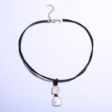 Naszyjnik z pereł perła skórzana lina rozmiar kwadratu 16-17mm