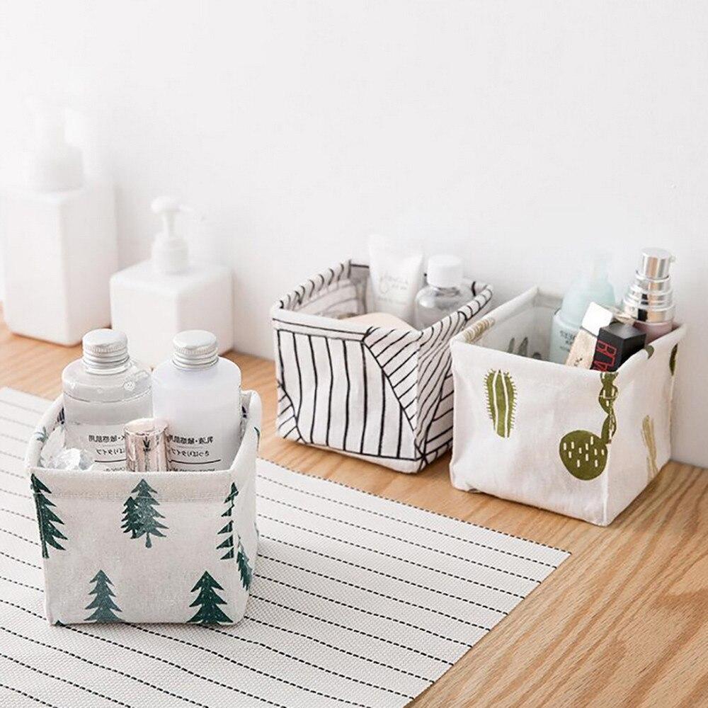Cesta de almacenamiento de algodón y lino de alta calidad para escritorio, caja de almacenamiento de artículos diversos con mango, contenedor de lino para escritorio, estuche organizador de maquillaje 712