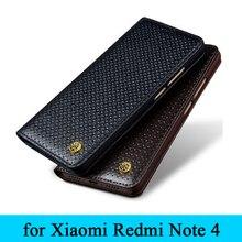 Haute qualité personnalisé 100% en cuir véritable étui téléphone couverture pour Xiaomi Redmi Note4 herbe motif protecteur pour Redrice Note 4