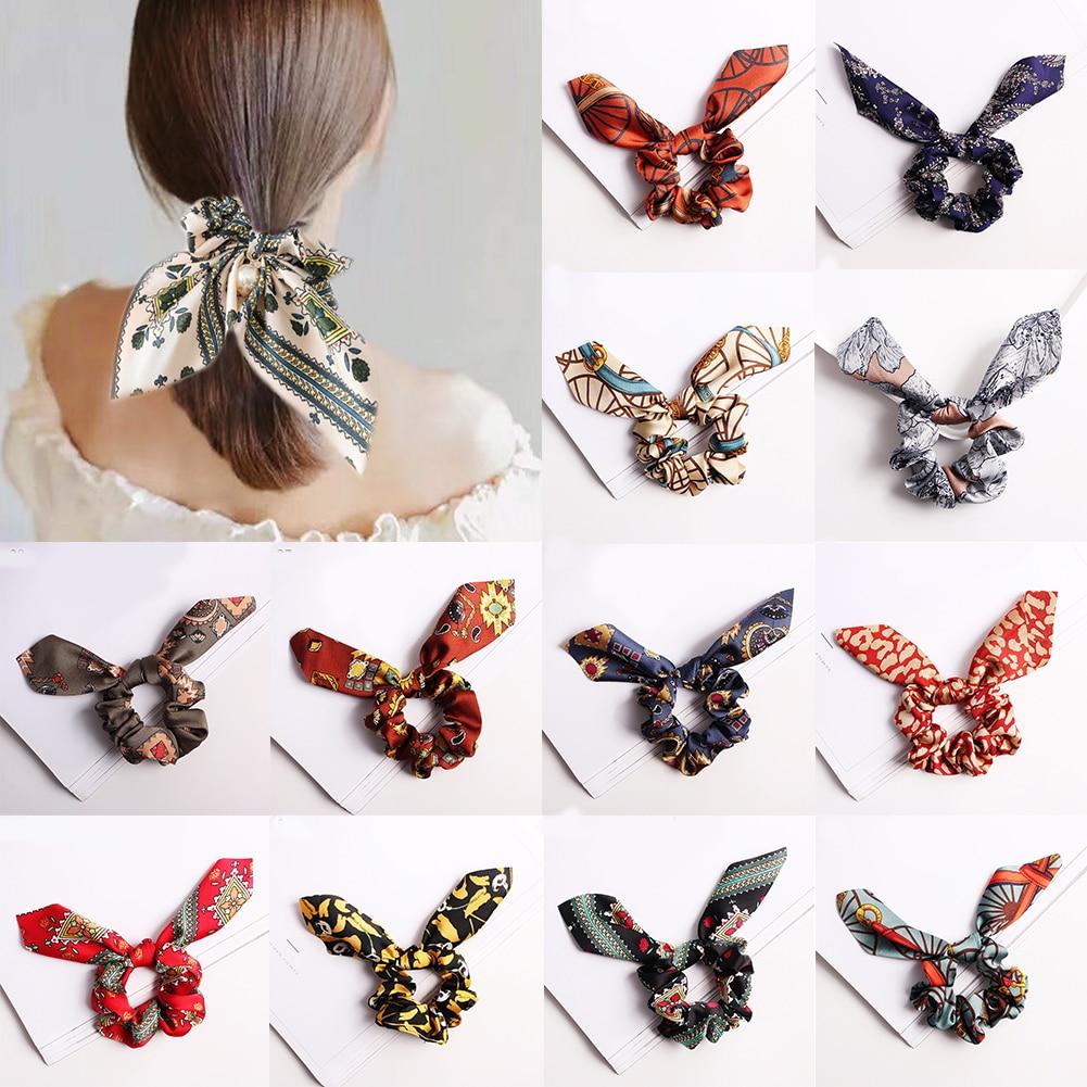 leopard Girls Bunny Ears Chiffon Scrunchie Elastic Hair Band Bow Hair Ropes Ladies Head Band Girls Hair Ties Hair Accessories