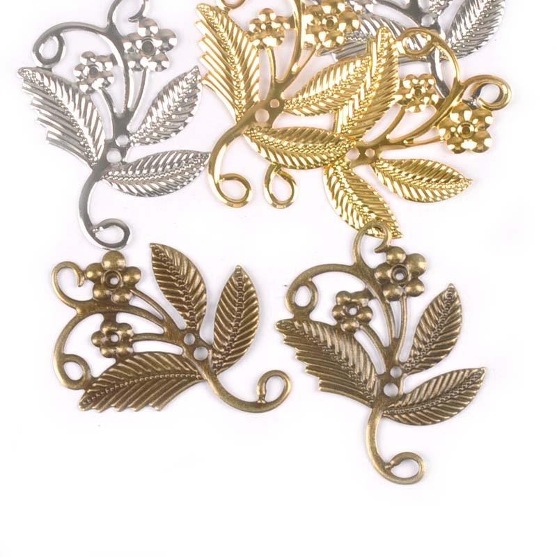 10Pcs Bronze/silver Flower Filigree Wraps Embellishments For Crafts Connectors For DIY Scrapbook Accessories Home Decor yk0732
