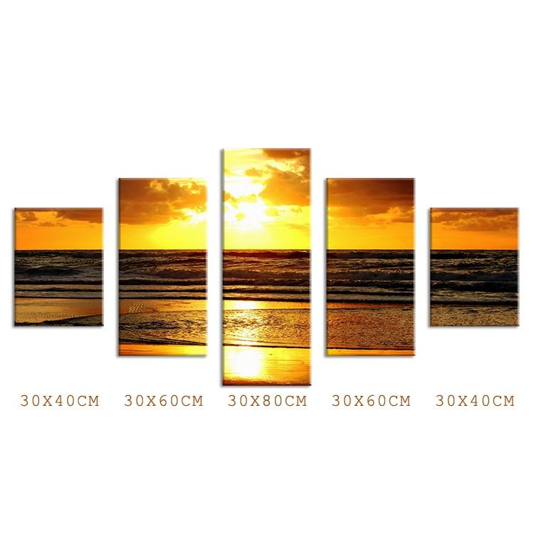Cuadros de pintura superventas 5 paneles con playa dorada pared de noche arte foto decorativa para Bar sala de estar impreso