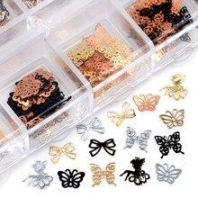 Микс 3 вида цветов 4 формы галстуки-бабочки, цветы, фея, металлические блестки для нейл-арта, Стразы для украшения салона своими руками Tip7 #