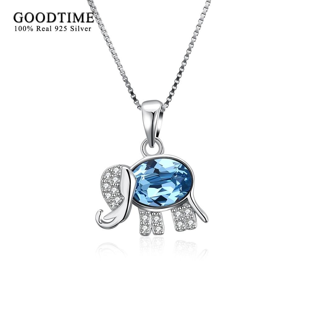 Bonito collar de elefante de Plata de Ley 925, colgante de cristal azul, collares para mujer, Plata de ley, joyería para niñas, regalos de aniversario