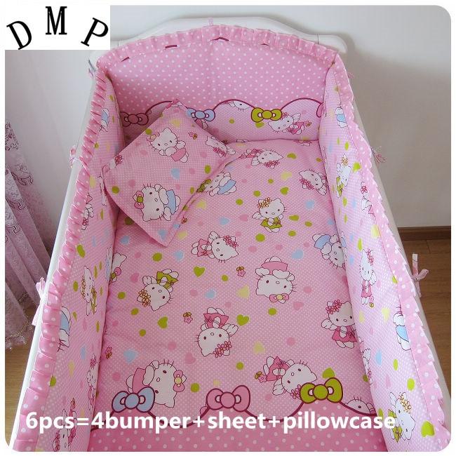 6 uds. Ropa de cama de bebé suave algodón cama de bebé parachoques protector de berco (4 parachoques + sábana + funda de almohada)