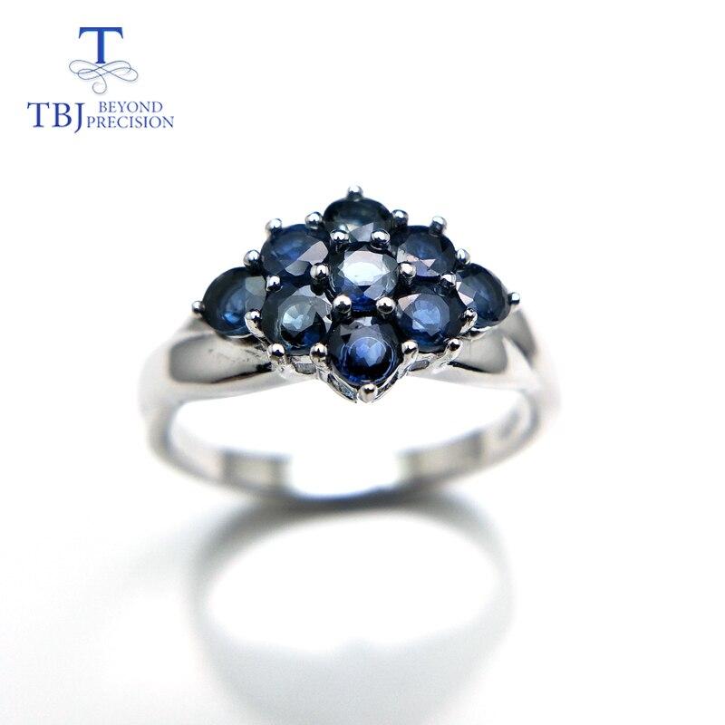TBJ, elegante anillo de flores con 100% piedra preciosa de zafiro azul natural en plata de ley 925, piedras preciosas para mujer como regalo de Navidad