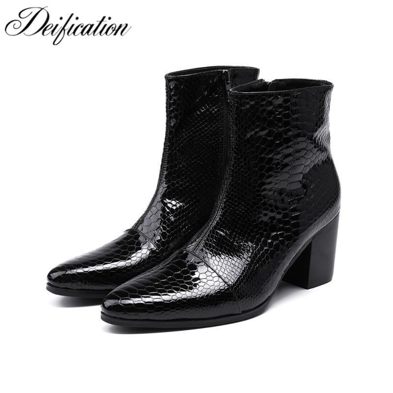 Deiation-أحذية الكاحل على الطراز الإيطالي للرجال ، أحذية كاوبوي مقاومة للماء للدراجات النارية ، فستان رجالي أسود ، أحذية حفلات مارتن