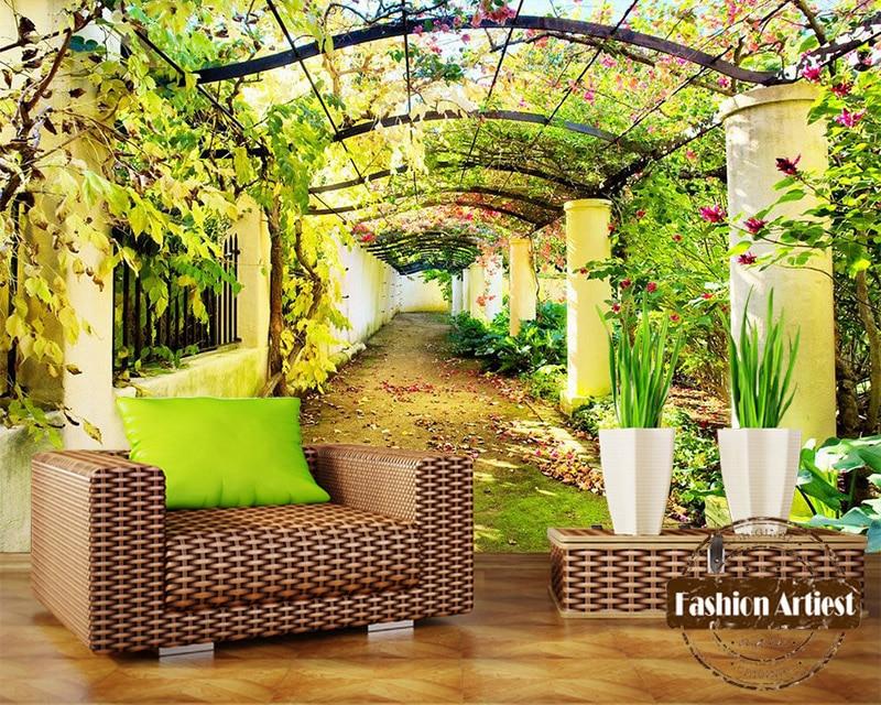 Пользовательские 3d цветы дерево галерея обои росписи сад Эдема летний мир пейзаж ТВ диван спальня гостиная кафе фон