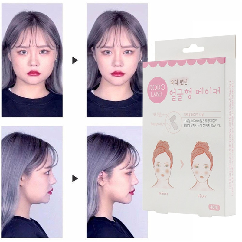 40 unids/set v-shape Face Label Lift Up Fast Chin adhesivo Tape Makeup Estiramiento facial herramientas blogueros uso Invisible impermeable elasticidad