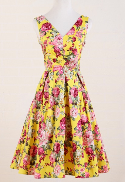 women dress vintage floral yellower flower rose print  50's clothing women's party prom bride wedding v-neck hippie boho ropa