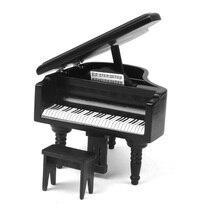 OMoToys 1/12 Miniature en bois Piano avec tabouret pour poupée maison modèles maison de poupée musique instrument décoration