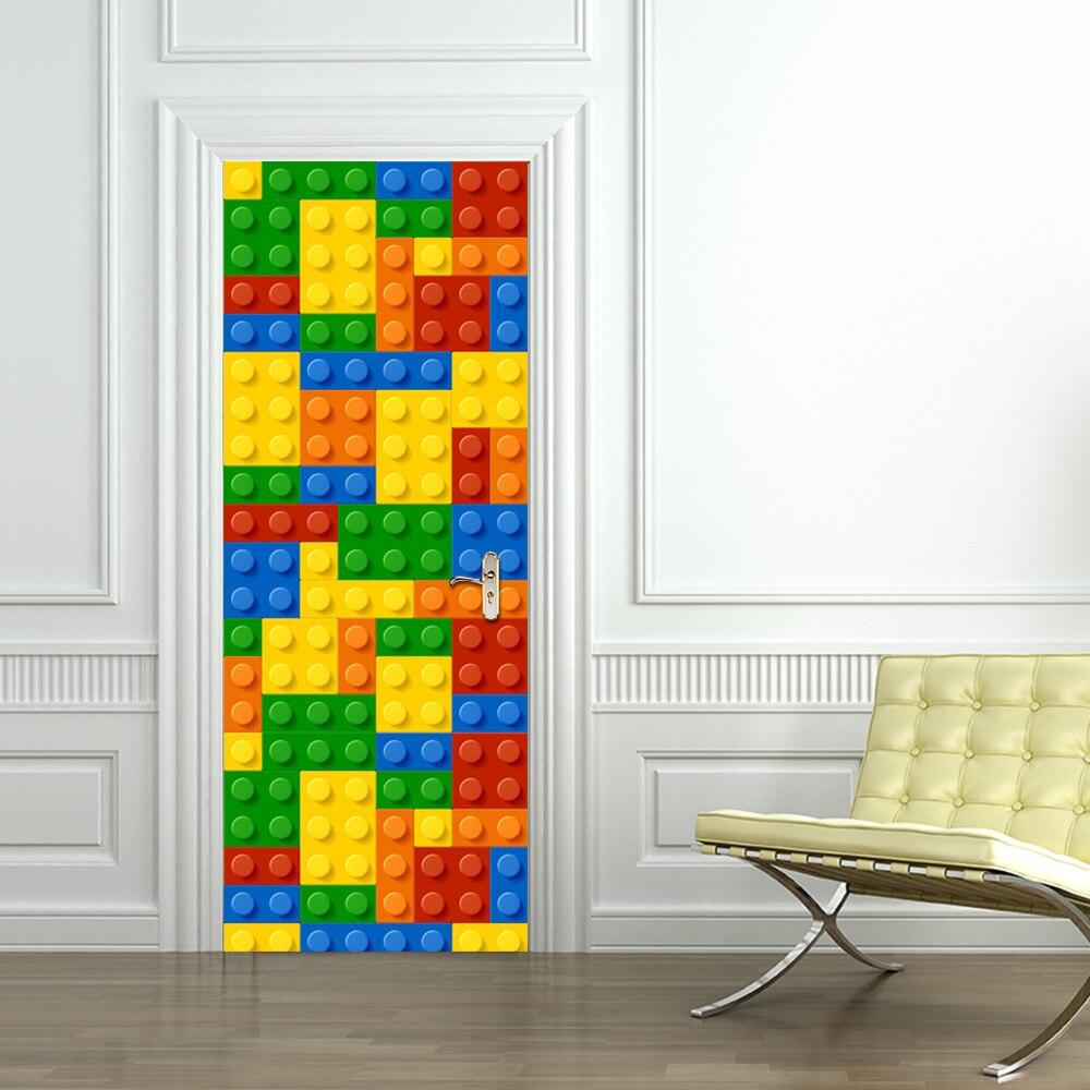 Kinder Lego gebäude modul tür aufkleber Schlafzimmer tür kreative selbst-adhesive dekoration Wasserdichte tür aufkleber