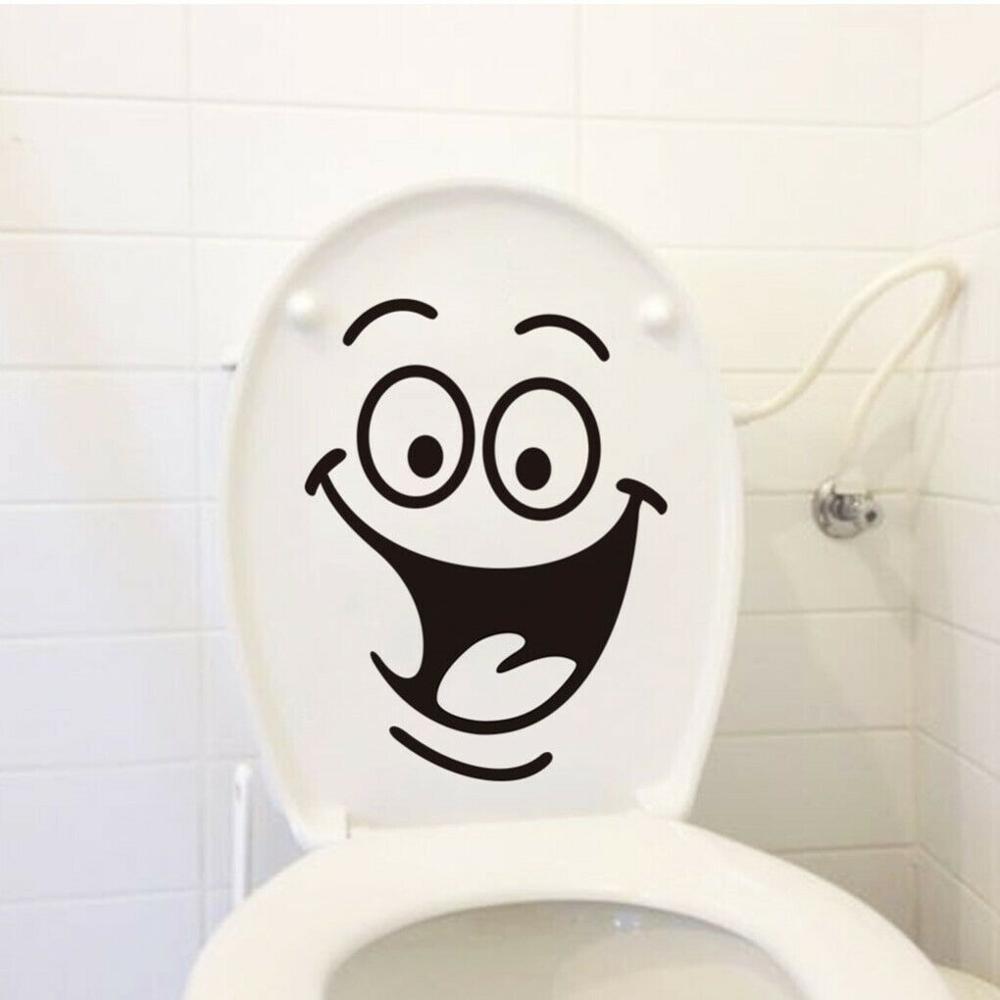Bonita pegatina de pared divertida lavabo e inodoro cara sonriente grande asientos para baño chicas chicos hogar diseño calcomanía GA034