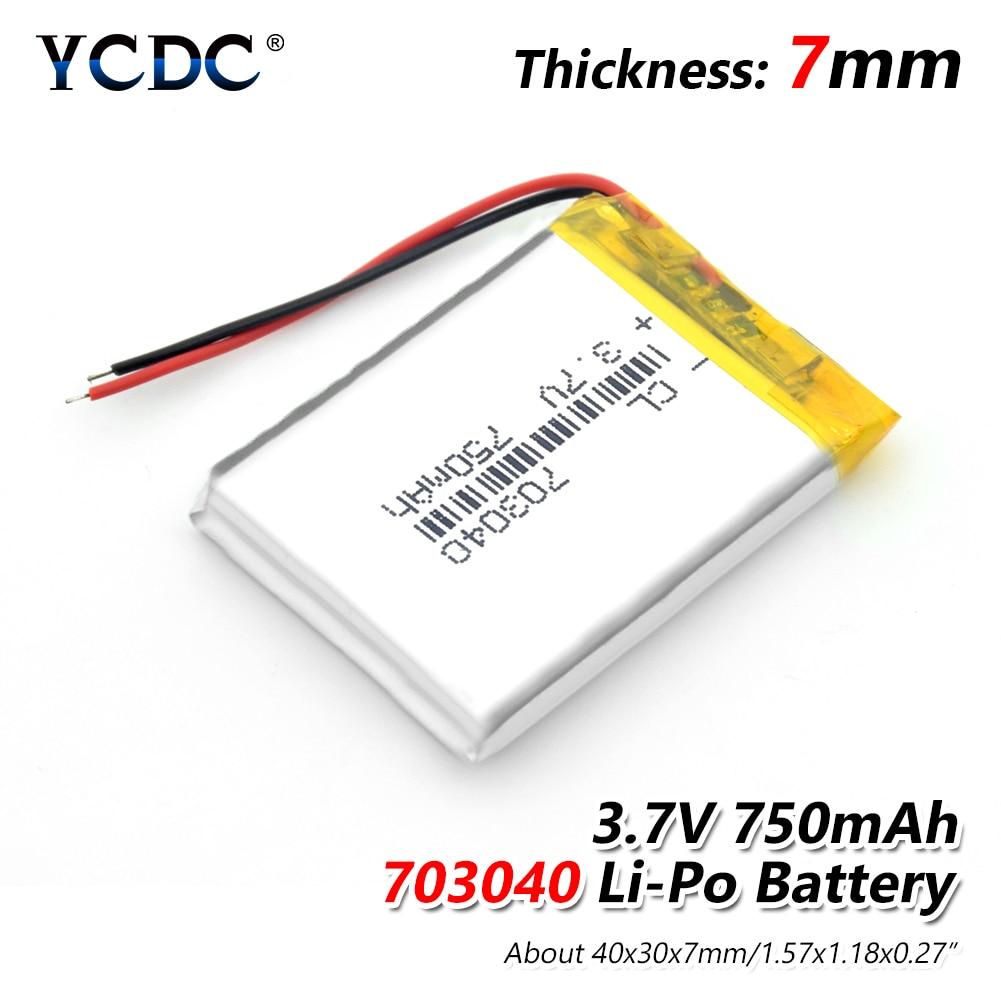 Литий-полимерный аккумулятор 2/4 703040 3,7 в 750 мАч, перезаряжаемые литиевые батареи для Светодиодный MP3 MP4 сотового телефона, DVD портативного компьютера, внешний аккумулятор