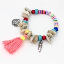 VONNOR bijoux Bracelets pour femme filles dété coloré Fimo perles à la main Bracelets gland pendentif coquille brin Bracelet