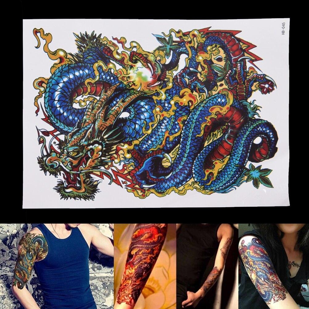 1 folha dragão tatuagem adesivos à prova dwaterproof água braço perna temporária tatuagem adesivos homens tatuagem transferência sexy produtos falsa tatuagem