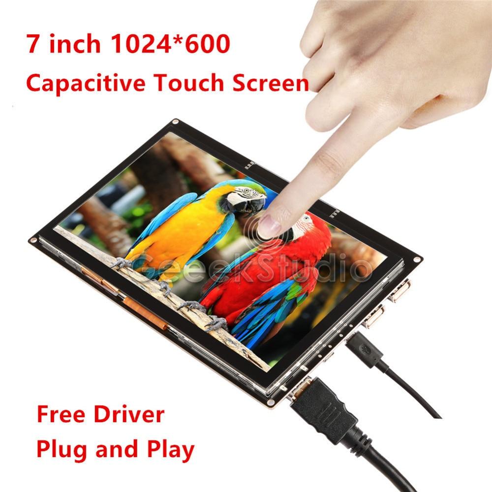سائق حر 7 بوصة 1024*600 عرض بالسعة شاشة تعمل باللمس مراقب التوت بي جميع الموديلات/الكمبيوتر/BeagleBone الأسود التوصيل والتشغيل
