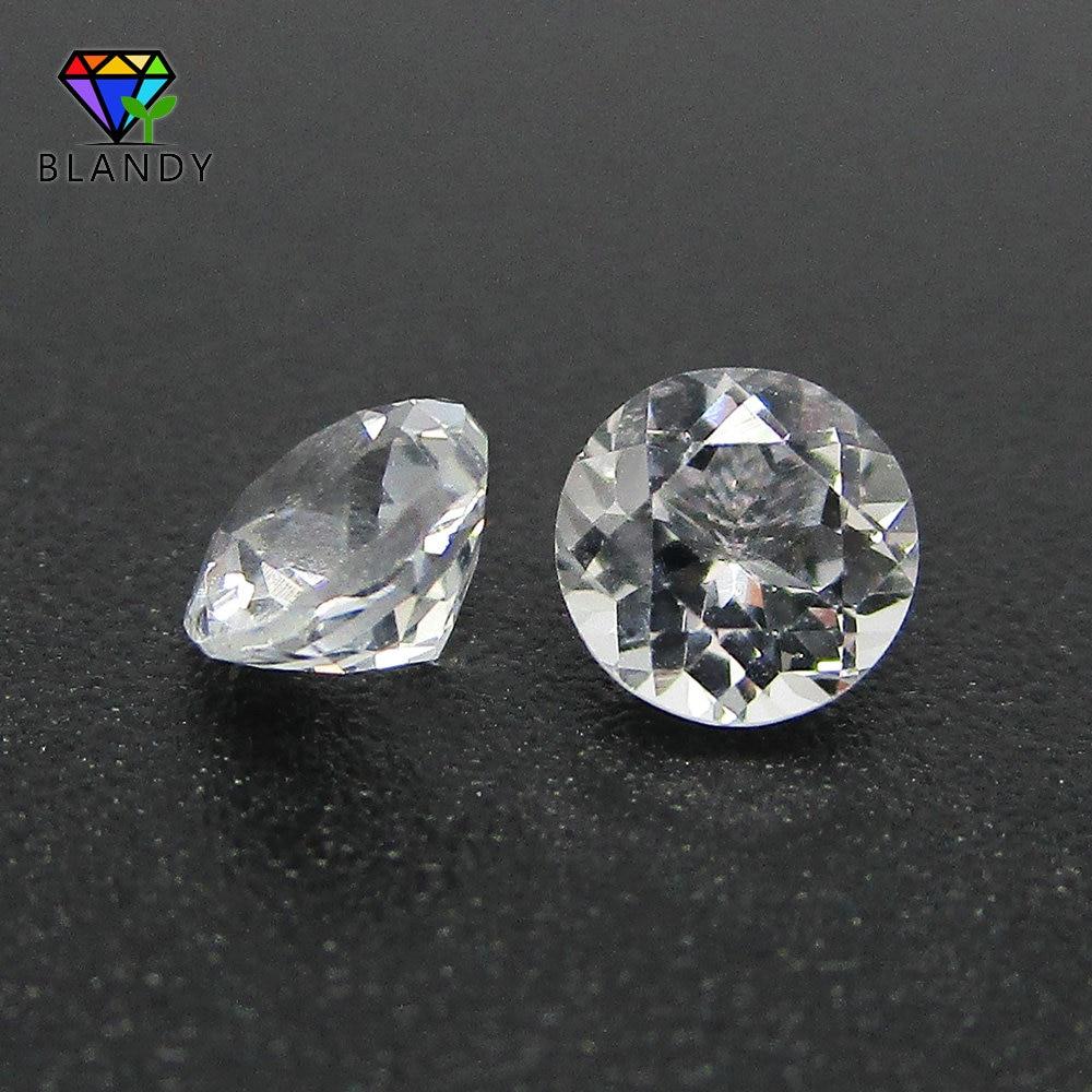 O envio gratuito de 5a 500 pçs/lote 1.0-3.0mm solta contas de pedra natural corte redondo 1.25mm 1.5mm branco topa z para jóias