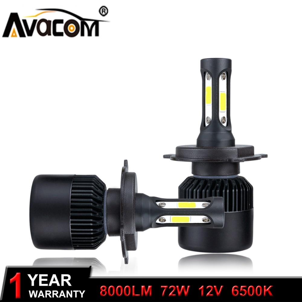H1 H3 H11 H4 LED Bombilla de faros delanteros de coche 12V mazorca 72W 8000Lm 6500K blanco frío 9005/HB3 HB4 HIR2 lámpara Auto H7 ampolla LED Voiture