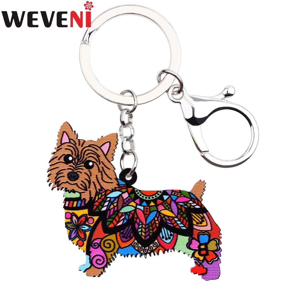 WEVENI acrílico Norwich Terrier perro clave cadena gota envío llave anillo encanto coche llaveros accesorios nueva de la joyería para las mujeres