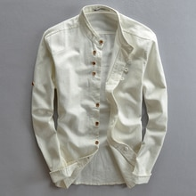 Chemises homme coton lin décontracté à manches longues col Mandarin haute qualité hommes daffaires coton chemises habillées chemise taille asiatique