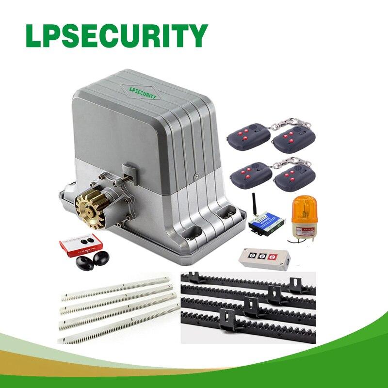 LPSECURITY 1800kg 6 keyfobs GSM deslizamento motores de portão automático/automático de portão deslizante motor 6m ou 7m rack 1 photoccell