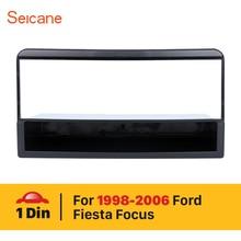 Seicane-panneau dinstallation 1 Din   Kit de panneau dinstallation stéréo de garniture de tableau de bord, cadre de montage automatique, carpette dautoradio pour 1998-2006 Ford Fiesta Focus