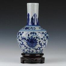 Ceramics blue and white porcelain antique guanyao crack glaze vase vintage home decoration crafts