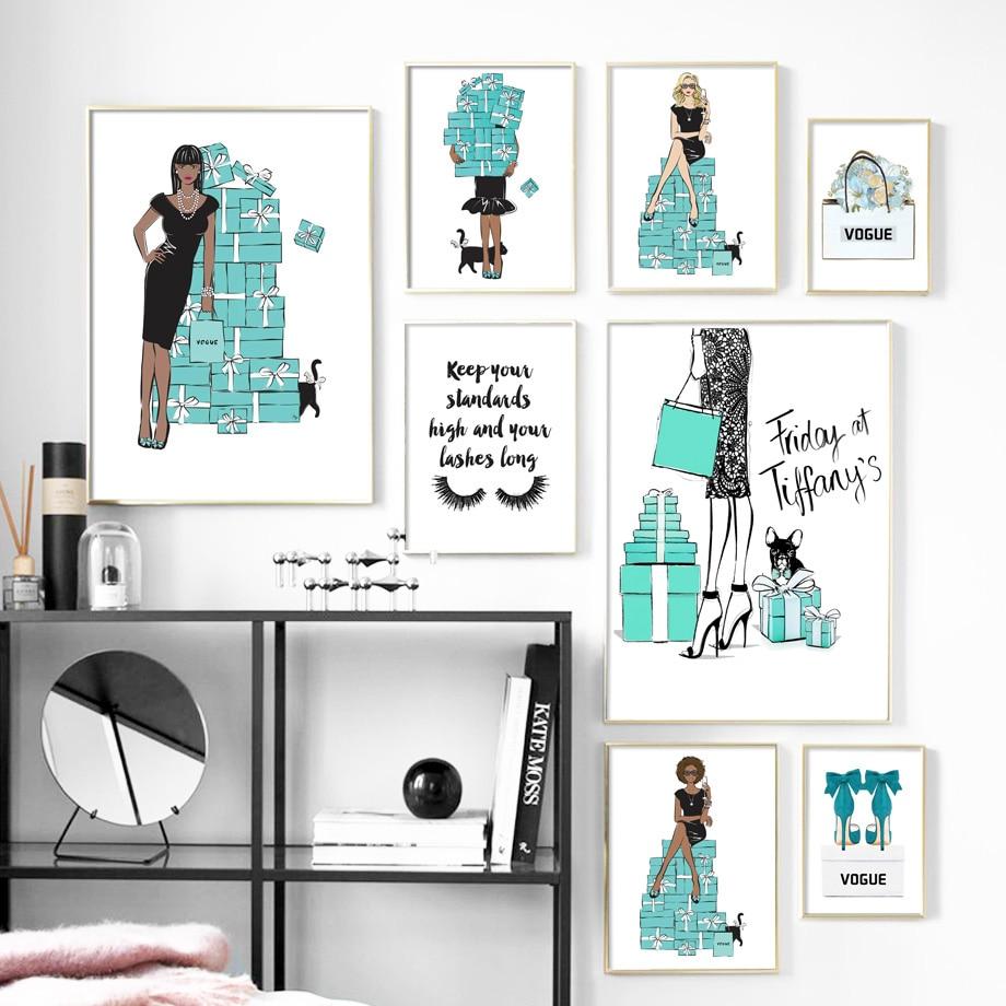 Fashion Girl Handbag High heels Eyelash Wall Art Canvas Painting Nordic Posters And Prints Wall Pictures For Living Room Decor