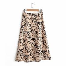 2019 Vintage Femmes Tiger Imprimer Jupes Longues Printemps Automne Mode Imprimé Animal Longue Flare Jupe Streetwear faldas mujer moda