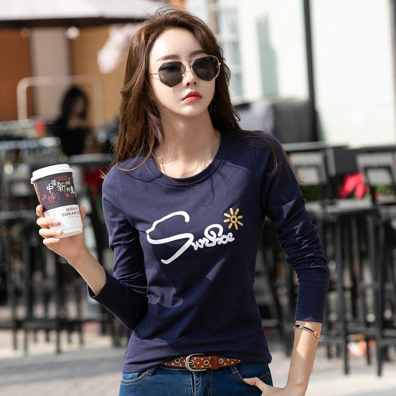 New Spring T Shirt Women Top Tee Long Sleeve Female T-shirt Fashion Letter Print Cotton T-shirts For Women Ladies Casual Tshirts