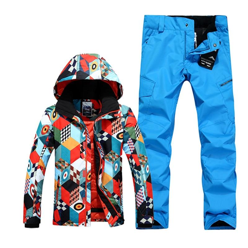 Chaqueta de esquí impermeable transpirable de alta calidad para hombre, conjuntos de nieve para hombre, traje de esquí de invierno para hombre, chaqueta de Snowboard cálida gruesa