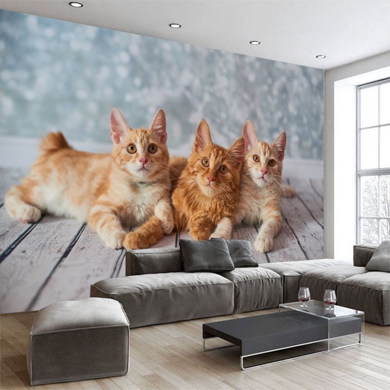 Papel pintado 3d personalizado lindo gato TV sofá Fondo papel pintado Sala dormitorio hotel mural galería decoración papel pintado