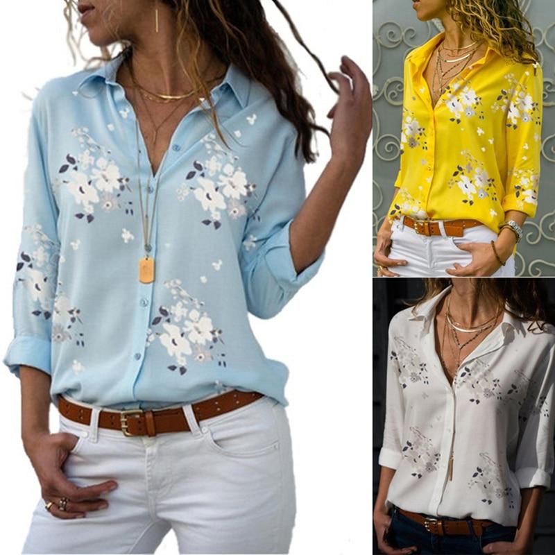 Blusa de gasa con botones simples a la moda para mujer, blusa sexi de manga larga con cuello de pico estampado, Tops para mujer, Túnica informal de primavera y verano para mujer