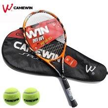 Raquette de Tennis en alliage daluminium de plage 1 pièce marque CAMEWIN raquette de Tennis avec sac (2 balles de Tennis en cadeau gratuit) couleur noir Orange