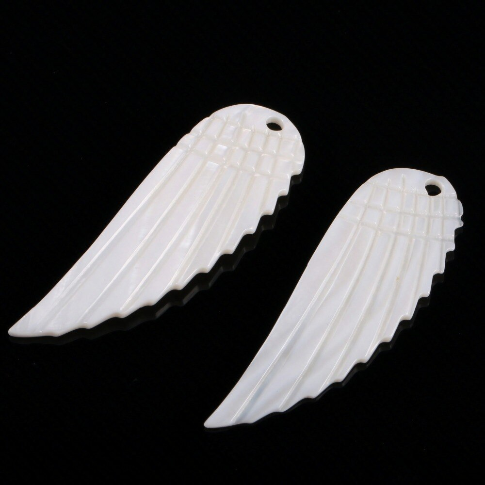 Necklace pendants Angel wings natural white shell carving  charms pendant necklace jewelry making diy size 14*41 mm