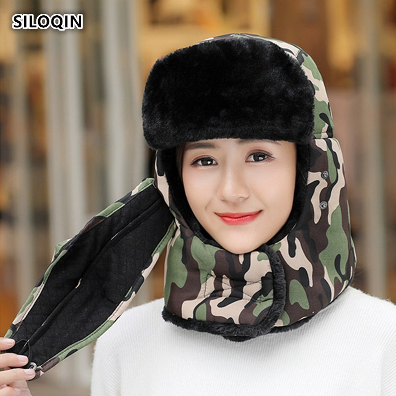 SILOQIN Winter New Style Couple Hat Bomber Hats Man Woman Thicken Velvet Keep Warm Earmuffs Parent-c