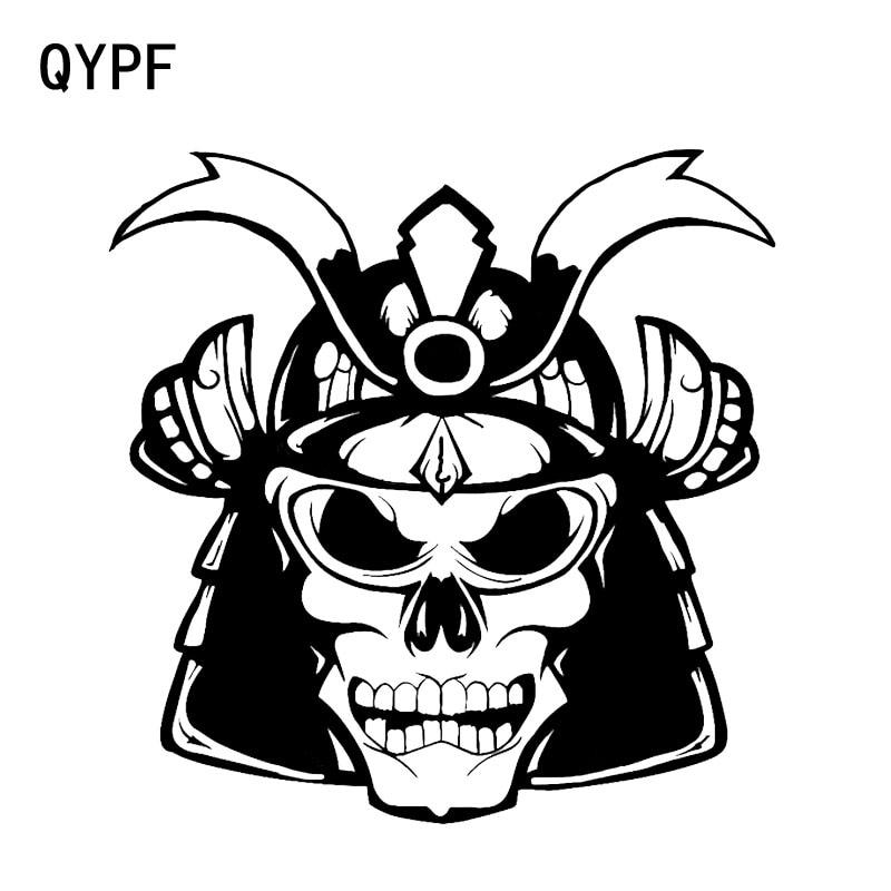 QYPF 14.8*15CM ciekawe samuraj kask czaszka graficzne wysokiej jakości naklejki samochodowe czarne srebrne naklejki winylu C16-0071