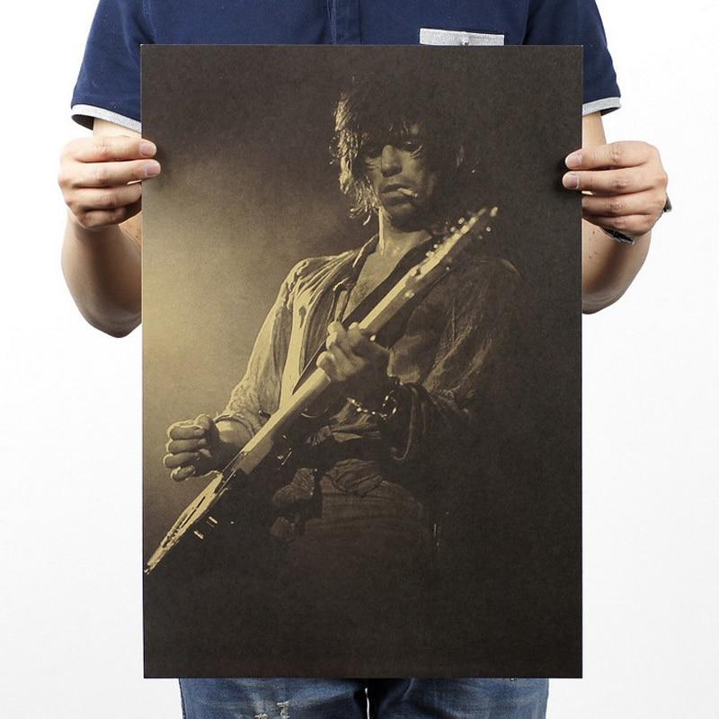 Настенная Наклейка, музыкант, музыка, гитара/крафт-бумага/кафе/бар постер/ретро постер/декоративная роспись 51x35.5cm