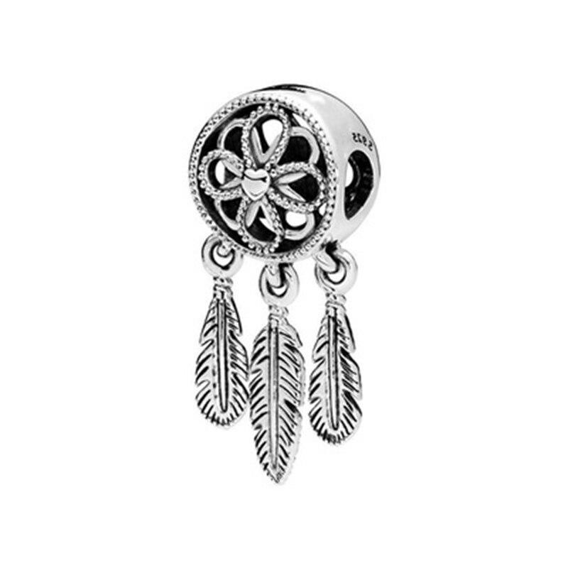 Plata de Ley 925 Europea alta calidad dream catch dangle charm Beads Fit serpiente pulsera colgante joyería de moda