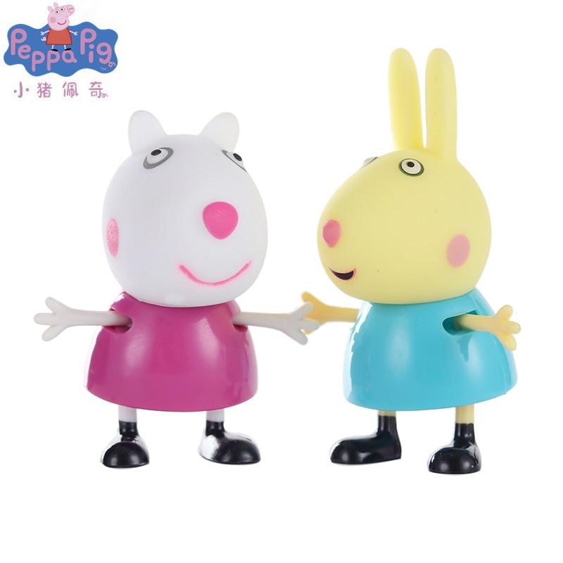 Peppa Pig George, familia, amigo, profesor, perro, conejo, dibujos animados, familia, amigos, figura de juguete, articulaciones movibles, juguete chico de alta calidad, nuevo